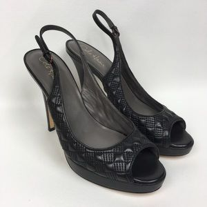 COLE HAAN Sz 10B Black Leather SlingBack Open Toe